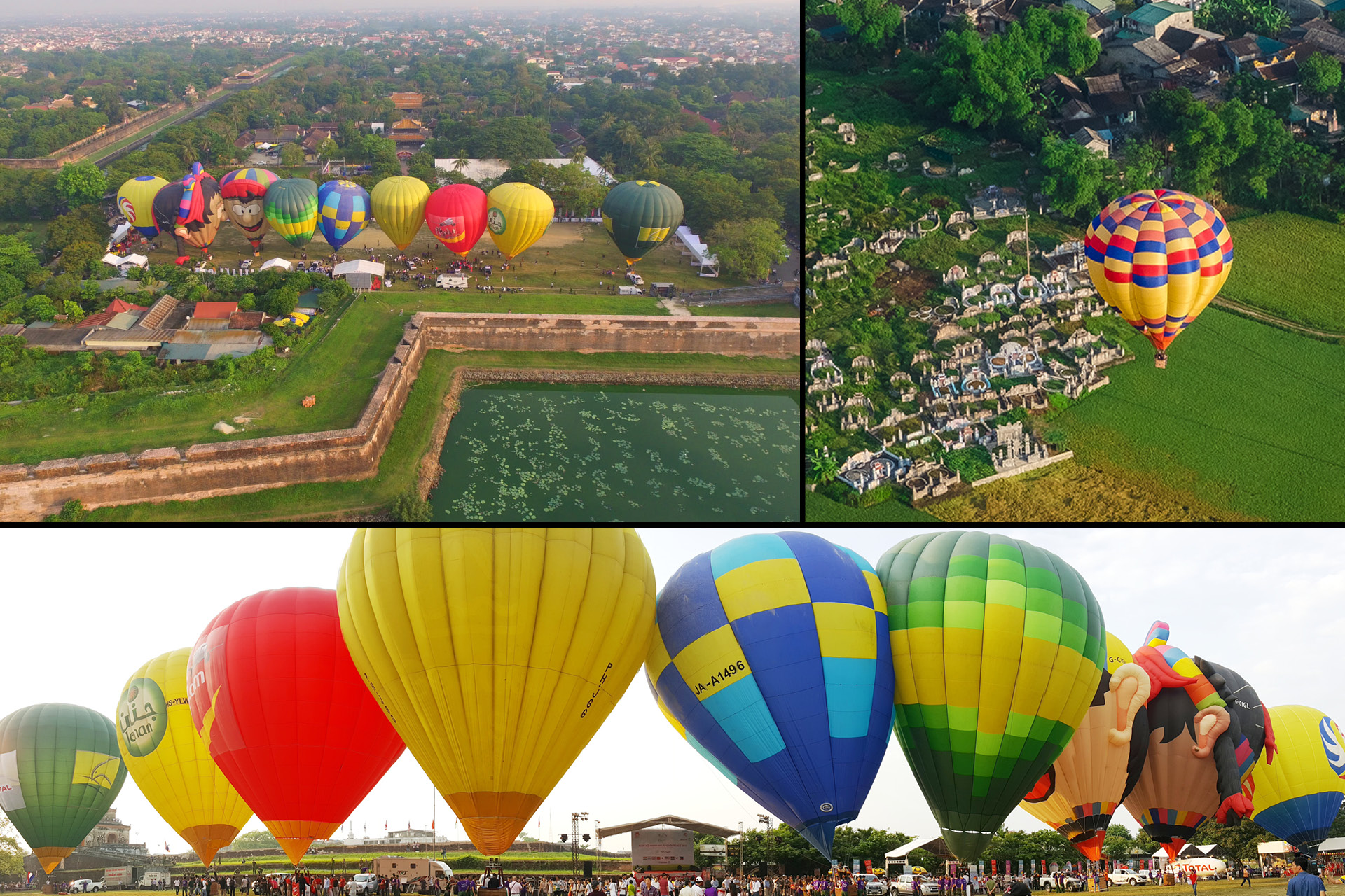 Flying along with the hot air balloon