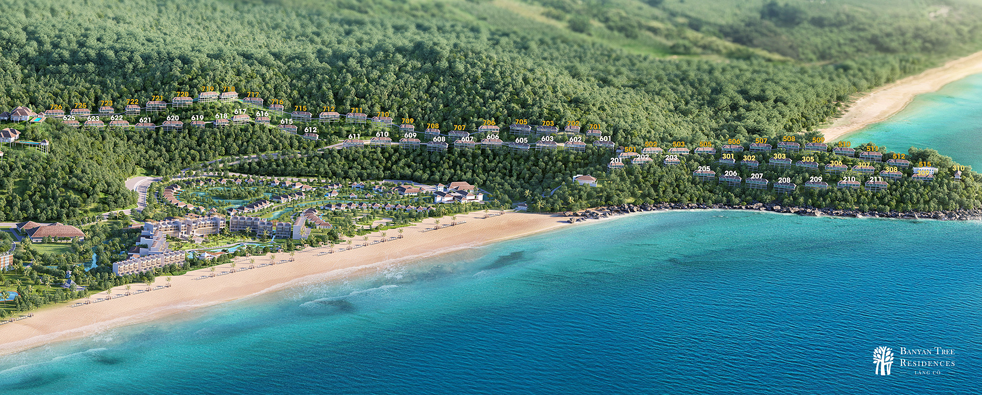 Phối cảnh dự án biệt thự biển Banyan Tree Residences Laguna Lăng Cô
