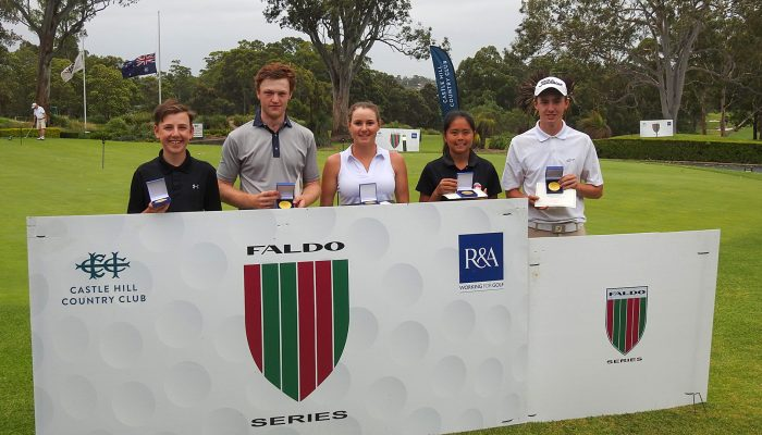 : Faldo Series Australia Championship age group winners (from left to right): Harry Peterson, Bryce Pickin, Kelsey Bennett, Shannon Tan and Josh Fuller.